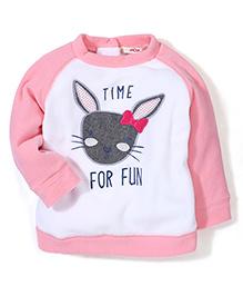 Fox Baby Raglan Sleeves Sweat Shirt Animal Embroidery -White Pink