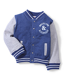 Fox Baby Full Sleeves Sweatjacket - Blue and Grey