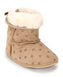 Fox Baby Boots Heart Design - Light Brown