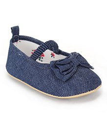 Fox Baby Casual Shoes Bow Applique - Navy