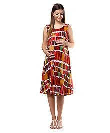 Mine4nine Sleeveless Maternity Dress Crayon Print - Multicolor