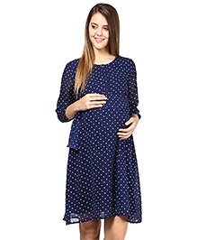 Mine4Nine Quarter Sleeves Polka Dot Maternity Dress - Blue
