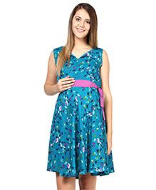 Mine4Nine Sleeveless Printed Maternity Dress With Belt - Aqua Blue