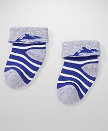 Cute Walk by Babyhug Turn-Over Striped Socks - Grey & Blue