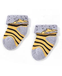 Cute Walk by Babyhug Turn-Over Striped Socks - Grey & Yellow