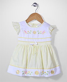 Babyhug Cap Sleeves Frock Floral Embroidery - Yellow And White