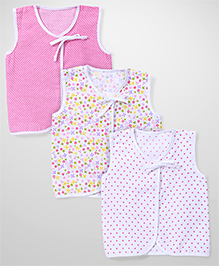 Babyhug Sleevless Printed Jhabla Set Of 3 - White Pink