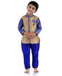 Babyhug Kurta And Jodhpuri Breeches Self Design - Khaki Blue