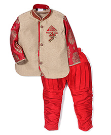 Babyhug Kurta And Jodhpuri Breeches Self Design - Khaki Red