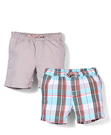 Mothercare Checks And Plain Shorts Pack Of 2 - Beige & Multicolor