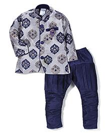 Babyhug Kurta And Jodhpuri Breeches Self Design - Grey