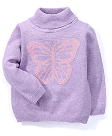 Mothercare Full Sleeves Roll Neck Sweatshirt Butterfly - Lilac