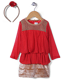 Babyhug Party Wear Peplum Frock With Hair Band - Red