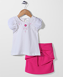 Babyhug Short Sleeves Top And Skirt Lace Detailing - White Pink