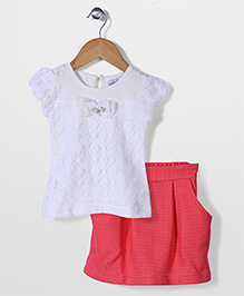 Babyhug Short Sleeves Top And Skirt Bow Applique - White Red