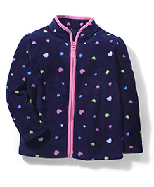 Mothercare Full Sleeves Jacket Allover Hearts - Dark Navy Blue