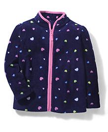 Mothercare Full Sleeves Jacket Allover Hearts - Dark Navy Blue