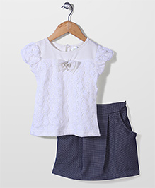Babyhug Short Sleeves Top And Skirt Bow Applique - White Blue