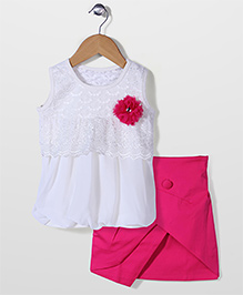 Babyhug Party Top And Skirt Floral Applique - White Fuchsia