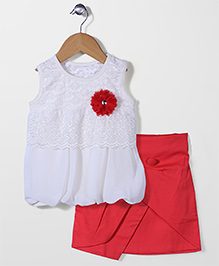 Babyhug Party Top And Skirt Floral Applique - White Red
