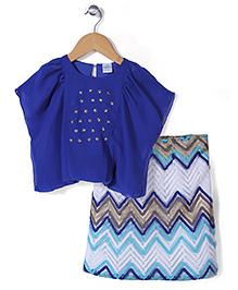 Babyhug Kaftan Style Top And Skirt Star Detailing - Royal Blue