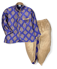 Babyhug Full Sleeves Kurta And Dhoti Self Design - Royal Blue