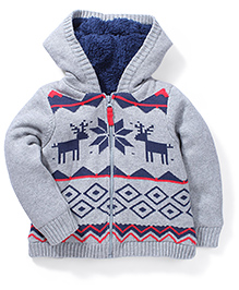 Mothercare Hooded Fairisle Chunky Knit Jacket - Grey