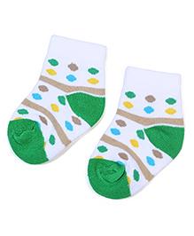 Cute Walk by Babyhug Socks Dotted Print - Green And White