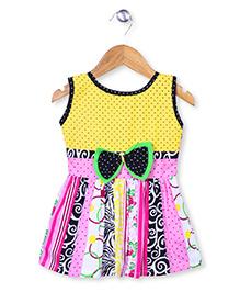 Babyhug Sleeveless Multi Print Frock - Yellow & Pink