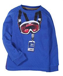 Mothercare Full Sleeves T-Shirt Ski Goggles Print - Royal Blue