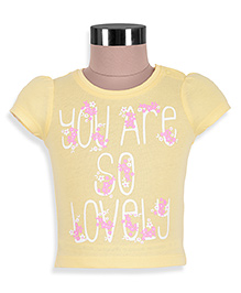 Mothercare Short Sleeves Printed Top - Yellow