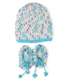 Babyhug Woollen Cap & Booties Set - Blue