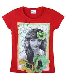 Eimoie Girl's Photo Printed Tee - Red