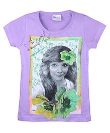 Eimoie Girl's Print T-Shirt - Purple