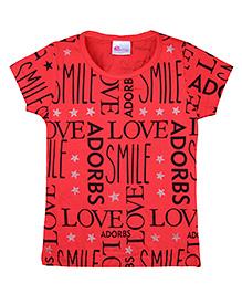 Eimoie Text Print T-Shirt - Red