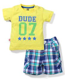 Baby League Half Sleeves T-Shirt And Checks Shorts - Yellow Blue
