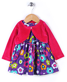 Baby League Sleeveless Frock With Shrug Floral Print - Purple Pink