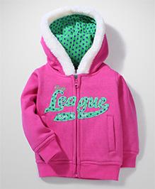 Baby League Full Sleeves Hooded Sweatshirt League Print - Fuchsia