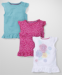 Mothercare Cap Sleeves Top Pack Of 3 - White Aqua Pink