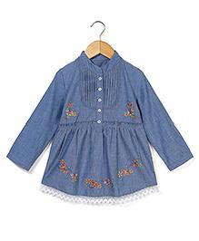 Bleeding Blue by Babyhug Quarter Sleeves Top Butterfly Print - Blue