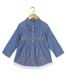 Bleeding Blue by Babyhug Quarter Sleeves Top Butterfly Print - Blue