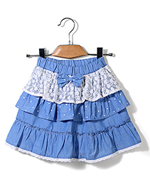 Bleeding Blue by Babyhug Tiered Skirt Bow Applique - Blue
