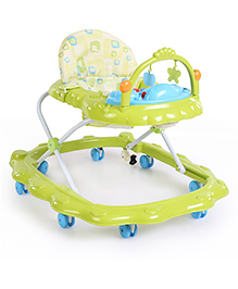 Musical Baby Walker With Play Tray & Hanging Toys - Green And Blue