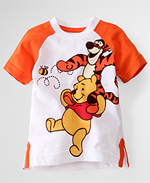 Disney By Babyhug Raglan Sleeves T-Shirt Pooh Tigger Print - White Orange
