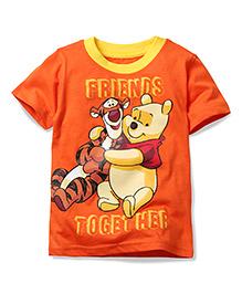 Disney by Babyhug Half Sleeves T-Shirt Friends Together Print - Orange