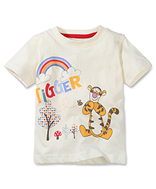 Disney by Babyhug Tigger Print T-Shirt - Light Cream