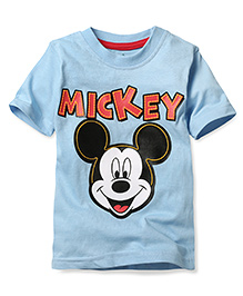 Disney by Babyhug Half Sleeves T-Shirt Mickey Print - Blue