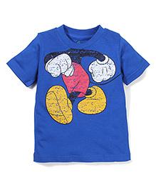 Disney by Babyhug Half Sleeves Mickey Print T-Shirt - Royal Blue