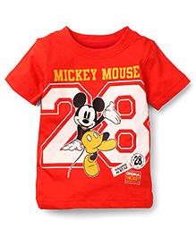 Disney by Babyhug Half Sleeves Mickey & 28 Print T-Shirt - Red