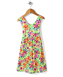 Mothercare Sleeveless Tropical Print Frock - Multicolor